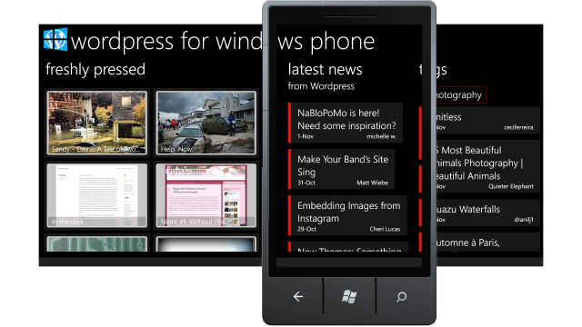 Panoramic view of WordPress for Windows Phone app